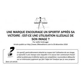 UNE MARQUE ENCOURAGE UN SPORTIF APRÈS SA VICTOIRE : EST-CE UNE UTILISATION ILLÉGALE DE SON IMAGE ?