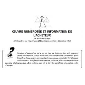 ŒUVRE NUMÉROTÉE ET INFORMATION DE L'ACHETEUR