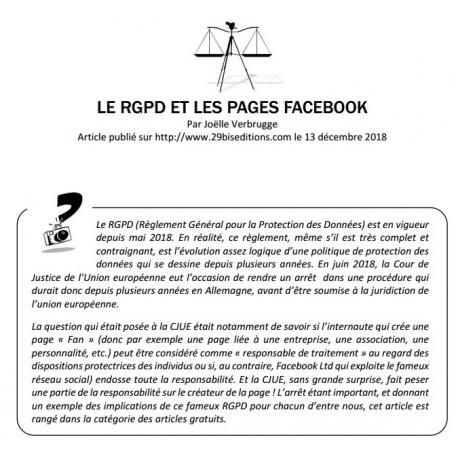 LE RGPD ET LES PAGES FACEBOOK