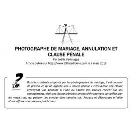 PHOTOGRAPHE DE MARIAGE ET CLAUSE PÉNALE