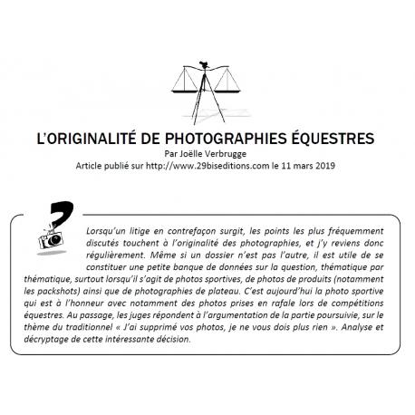 L'ORIGINALITÉ DE PHOTOGRAPHIES ÉQUESTRES