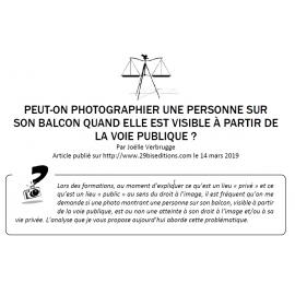 PEUT-ON PHOTOGRAPHIER UNE PERSONNE SUR SON BALCON QUAND ELLE EST VISIBLE À PARTIR DE LA VOIE PUBLIQUE ?