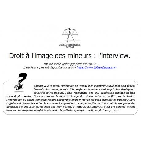 Droit à l'image des mineurs et interview