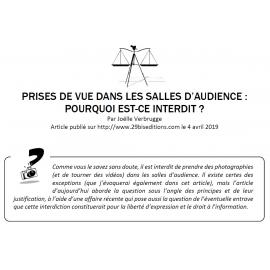 PRISES DE VUE DANS LES SALLES D'AUDIENCE : POURQUOI EST-CE INTERDIT ?