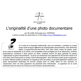 L'originalité d'une photo documentaire