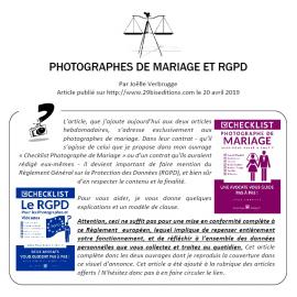PHOTOGRAPHES DE MARIAGE ET RGPD