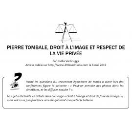 PIERRE TOMBALE, DROIT À L'IMAGE ET RESPECT DE LA VIE PRIVÉE