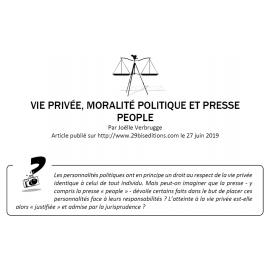 VIE PRIVÉE, MORALITÉ POLITIQUE ET PRESSE PEOPLE