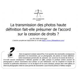 La transmission de photos en haute définition fait-elle présumer un accord sur la cession de droits ?
