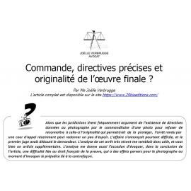 Commande, directives précises et originalité de l'œuvre finale ?