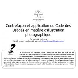 Contrefaçon et code des usages en matière d'illustration photographique