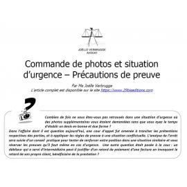 Commande de photos et situation d'urgence - Précautions de preuve
